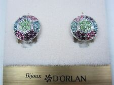 with Pastel Swarovski Crystal 0574 D'Orlan Rhodium Plated Round Clip-on Earrings