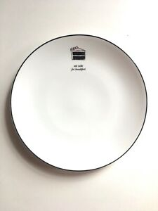 """Lenox Kate Spade Eat Cake For Breakfast Accent Plate Concord Square White 9"""""""