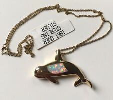 Sterling Silver 925 Porpoise Pendant & Cable Chain Necklace 18K overlay opal