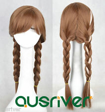 Fashion 65CM Brown Heat Resistant Women Lady Hair Full Wig Cos Frozen Anna