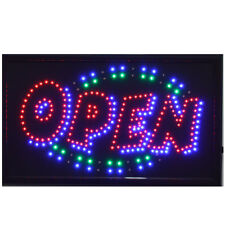 "LARGE Animated LED Neon BUSINESS OPEN Sign w.Motion ON/OFF Switch 21"" X13"" # 013"