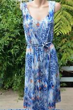W-LANE Size S-12 Blue Animal Mosaic DRESS NEW rrp $119.99 Plait Belt QUALITY