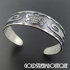 "Overlay Darkened Wide Cuff Bracelet Michael Glass Sterling Silver ""Honu Head"""
