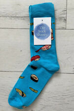 Unisex Bright Blue With Sushi Foods On Cotton Blend Ankle Socks
