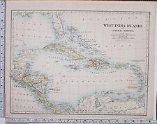 1889 LARGE ANTIQUE MAP ~ WEST INDIA ISLANDS CENTRAL AMERICA CUBA HONDURAS