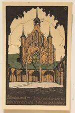 26552 Steindruck Künstler Stein Zeichnung AK Stralsund Johannis-Kirche u Kloster