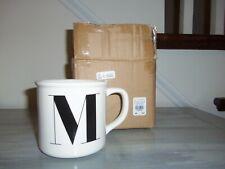 "NIB POTTERY BARN WHITE STONEWARE ALPHABET MUG:  LETTER ""M"""
