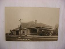 Real Photo Postcard RPPC Railroad Depot Walworth Wisconsin WI 1911 #1406