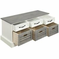 Coaster 6 Drawer Storage Bench in White and Gray