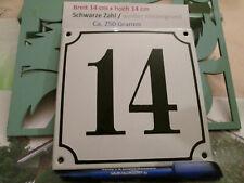 Hausnummer Emaille  Nr. 14 schwarze Zahl auf weißem Hintergrund 14 cm x 14 cm
