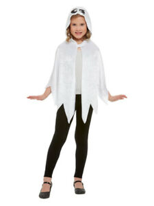 Halloween Fancy Dress Childs White Ghost Hooded Cape Unisex