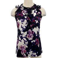 Elie Tahari Blouse Silk Sleeveless Black Purple Floral Ruffle Women's Size XS