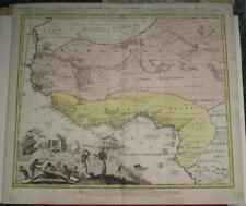 GUINEA WEST AFRICA 1743 HOMANN HEIRS & HAAS ANTIQUE ORIGINAL COPPER ENGRAVED MAP