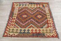 Geometric Kilim Oriental Area Rug Wool Hand-Woven Traditional Turkish Carpet 4x4