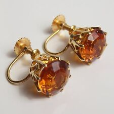 Stunning Pair Victorian Scottish 9ct Gold Cairngorm Citrine set Earrings c1900