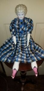 """ANTIQUE HERTWIG TURNED HEAD PET NAME AGNES CHINA HEAD DOLL 20"""" TALL"""