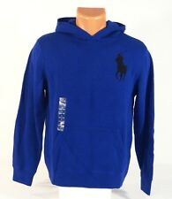 Polo Ralph Lauren Blue Hooded Knit Pullover Sweater Hoodie Youth Boys Large NWT