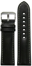 24mm RIOS1931 for Panatime Black Kevlar Style Synthetic Watch Band w White Stitc
