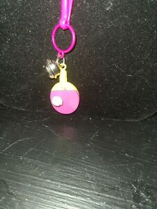 Vintage 80s Plastic Bell Charm yellow pink ping pong paddle with ball charm