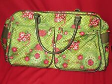 OILILY Classic Green Pink Logo Floral Lg Purse Tote Multi Purpose Doctor Bag