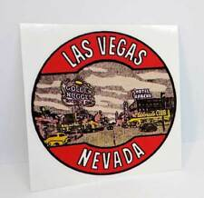 Las Vegas Vintage Style Round Travel Decal / Vinyl Sticker, Luggage Label