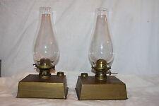 Pair of Desk Top Slip Shade Kerosene Tin Square Base Lamp Lanterns