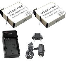 2 GoPro Battery for HERO4 Camera, AHDBT-401, 1600mAh + Car/Home Charger