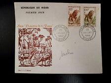 NIGER  107/08   PREMIER JOUR FDC      FAUNE , LION      85+100F      1960