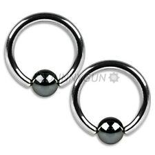 "16G 7/16"" Pair Steel Captive Hematite Bead Rings 16 gauge ear lip hoop dunnygun"
