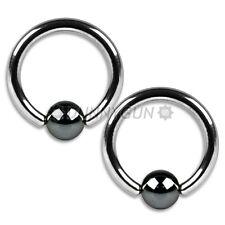"""16G 7/16"""" Pair Steel Captive Hematite Bead Rings 16 gauge ear lip hoop dunnygun"""