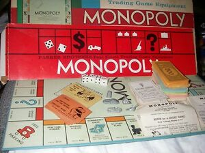 MONOPOLY PARKER BROS BOARD GAME LOT REPLACEMENT PIECES 1961