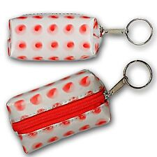 Polka Dot White Lipstick Coin Purse Keychain Lenticular Spinning #R-041-GLOBI#