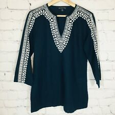 BROOKS BROTHERS 346 Embroidered Linen Blend Blouse Navy Blue Peasant XS EUC