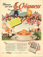 1942 WW2 era cereal Ad Kellogg's RICE KRISPIES Snap Crackle & Pop!  080618