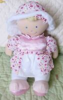 "Kids Preferred White Plush Baby Doll Toy w Satin & Pink Yellow Flowers VGUC 12"""