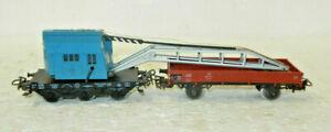 Marklin HO Scale DeutschesBahn Crane and Idler Wagon