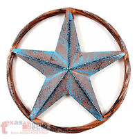 Barn Star Rust Turquoise Rustic Tin Metal Rope Ring Texas Wall Decor 3D 8""