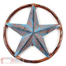 Barn Star Rust Turquoise Rustic Metal Aluminum Rope Ring Texas Wall Decor 3D 8""