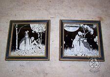 Vintage Set Reverse Litho Silhouettes 'Lovers Moon' 'Lovers Lane' Framed 1933