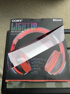 COBY Wireless Bluetooth On-Ear Light Up Foldable Stereo LED Headphones Red