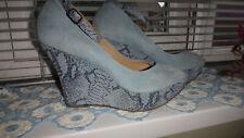 FAITH Blue Suede Platform High Wedge Heel, Boho Shoes UK 7, EU 40