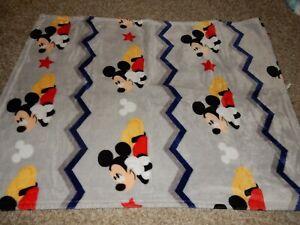 Disney MICKEY MOUSE Chevron Plush Silky Crib Baby Blanket Comforter