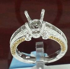 18k white gold solitaire semi maunting fancy yellow diamonds and 0.82ct white d