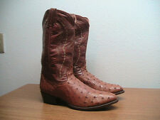 Mens 10.5 D Dan Post Cognac Brown Full Quill Ostrich Western Cowboy Boots, $348