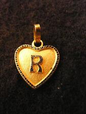 Ciondolo Cuore Medaglione d'Oro Placcato Lettera R 1,5 cm