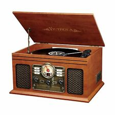 Record Player With Speakers Classic Mahogany 6 in 1 Bluetooth Radio CD Casette