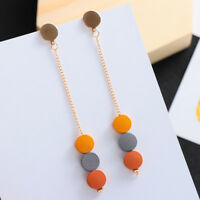 Pendant Statement  Drop Dangle Earrings Colored Round Wood Wooden Geometric