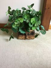 Artificial Ivy House Plant in Wicker Basket Home Decor Green Greenery Tabletop