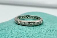 Art Deco Diamond Platinum Eternity Band Ring Wedding Engagement Size 5.5
