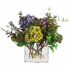 Mixed Hydrangea W/Rectangle Vase Silk Flower Arrangement Nearly Natural Decor